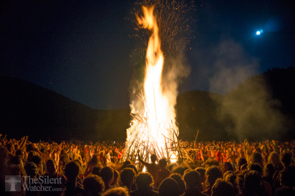 Full moon celebration fire European Rainbow Family Gathering Romania 2014