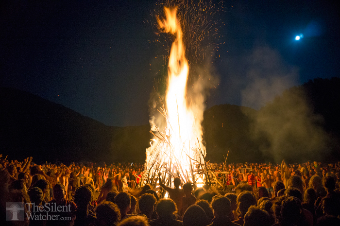 Full moon celebration fire European Rainbow Family Gathering Romania 2014